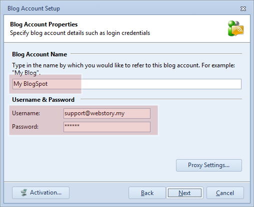 Enter blog account name and user credentials