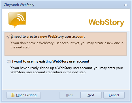 Set up your WebStory user account