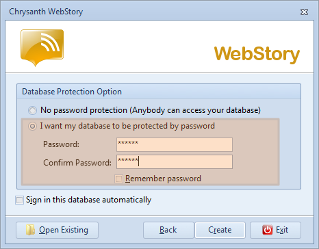 Set your password to protect your WebStory database