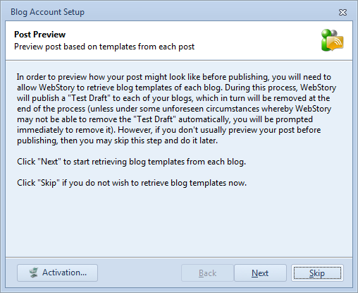 Download blog template option