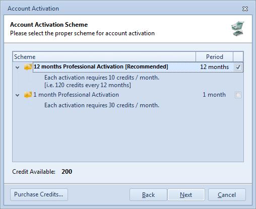 Professional Activation Scheme