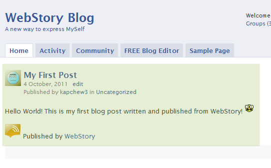 Congratulations, you have successfully published your first blog post via WebStory