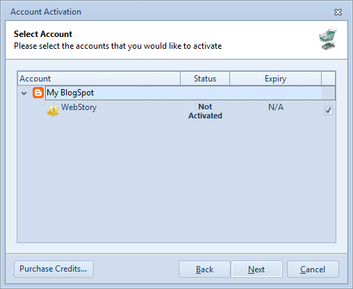 Select blog or microblog for current activation