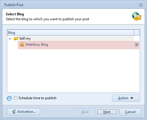 Select the target blog that we want to publish