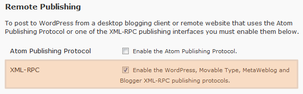 WordPress's remote publishing option
