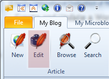 Click at the Edit button to start editing an existing page