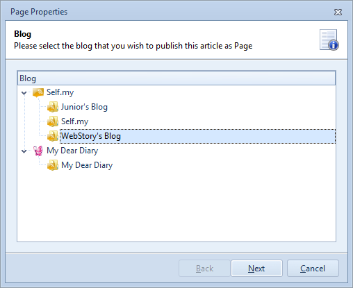 Select the blog to add new WordPress page