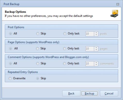 Blog Backup Options