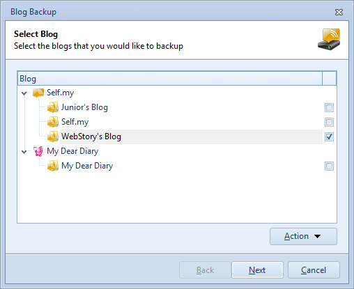 Select Blogs to Backup