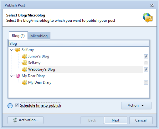 Select Blogs to Publish