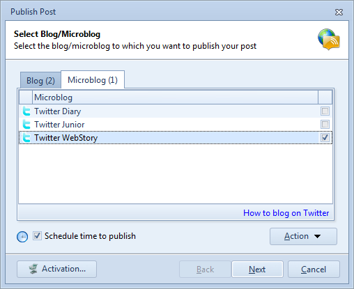 Select Twitter Accounts to Publish